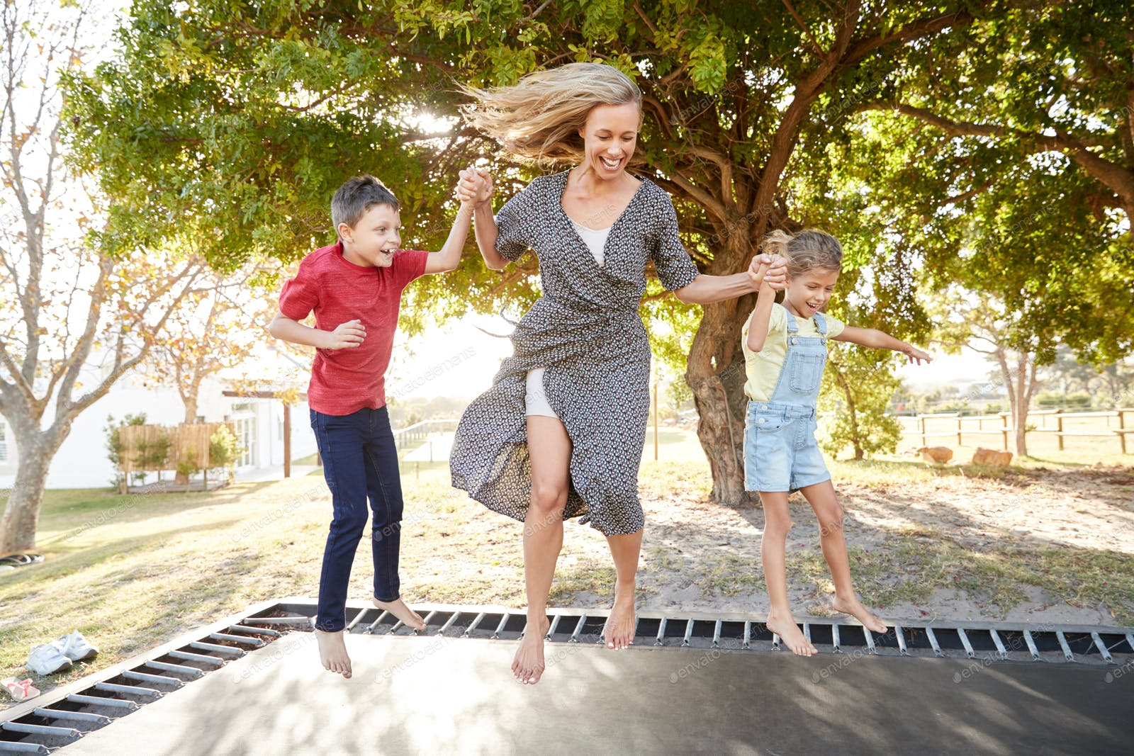 busy people jumping on trampoline